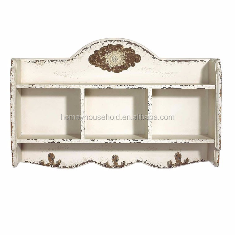 Wooden furniture designs decorative white wall shelf for home
