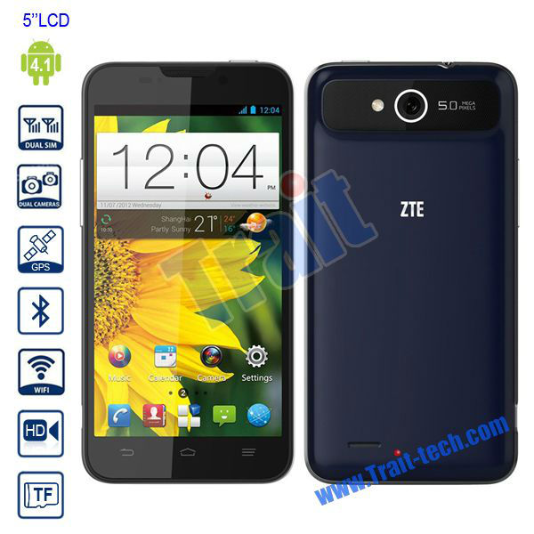 ZTE V967S 5'' IPS Android 4.1 Smartphone RAM 1GB ROM 4GB/MTK6589 Quad-core 1.2GHz/Dual Sim/Wifi GPS Bluetooth with Camera