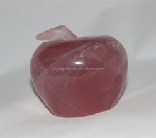 Natural Rock Rose Quartz Crystal Apple/Wholesale Decorative Crystal Apple For Wedding Gifts