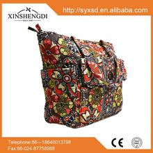 New design cotton floral quilted unique folding chinese laundry handbags