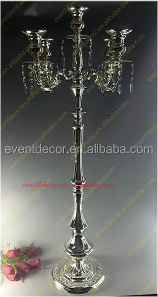 Wedding 5 arms crystal and metal candelabra / silver 5 arms wedding candle holders