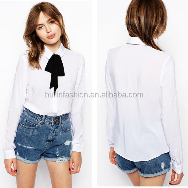 2014 New fashion elegant blouse for middle aged women tie neck model blouse for uniform
