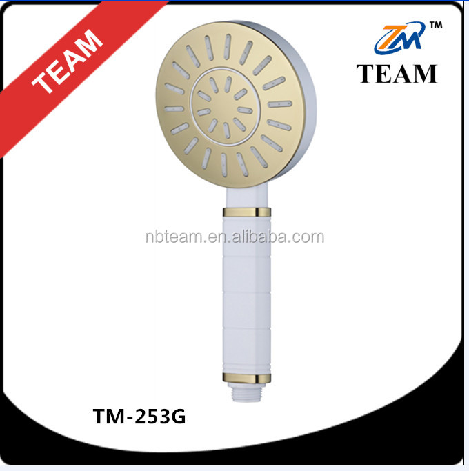 TM-253G bath shower accessories new design ABS plastic golden plate shower head