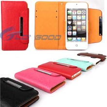 PU Leather Wallet Leather Case For iPhone 5 with Credit ID Card Holder (IP5G-010)