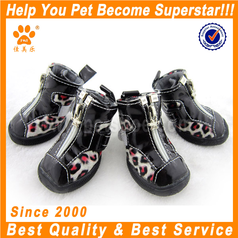 JML brand PU leather cheap spot dog shoes boots for winter warm stylish dog boots