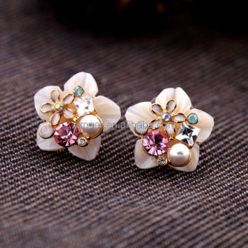 Fashion natural shell earring, crystal pearl flower earrings