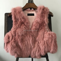 Cute Style Womens Winter Warm Genuine Rabbit Fur Vest Gilet With Covered Button