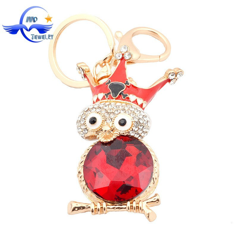 Latest Design Wedding Souvenirs Gifts Keychains Wholesale Owl with Cown Key Chain Metal Key Rings