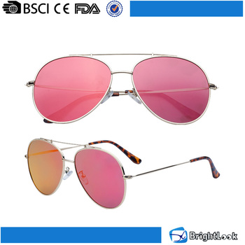 Classic metal frame pink revo lens sexy women glasses 2016 custom sunglasses