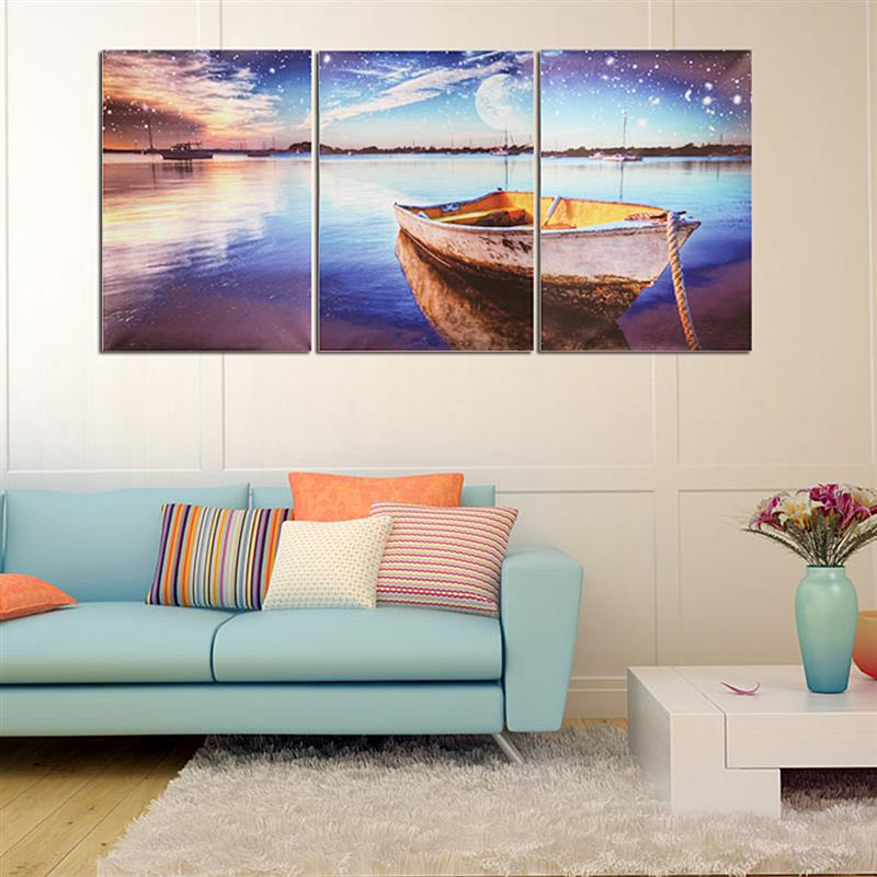 Modern 3PCS Oil Painting Art On Canvas Landscape Boat Wall Art