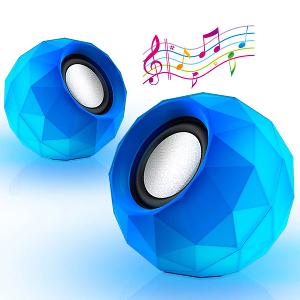 Ultra Mini HiFi LED Shinning USB2.0 Speaker MP3 Player with 3.5mm Jack for Outdoor Travel - 2PCS Speaker
