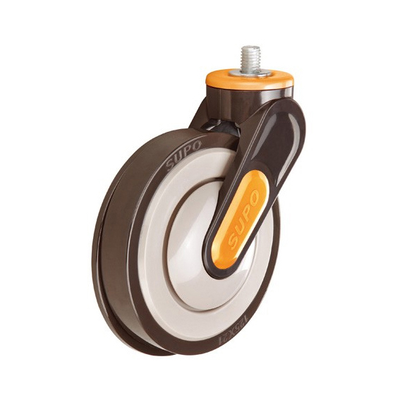 Bolt Hole PU Wheel 125 mm Plastic Escalator Casters Industrial Castors