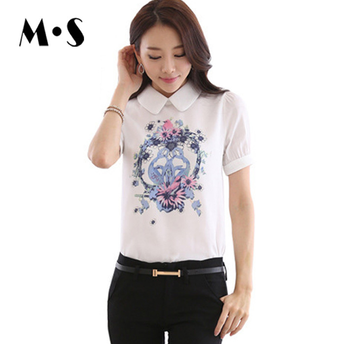 XXL Summer Style Big Size Women Casual Chiffon Floral Print White Shirt Womens Tops Fashion 2015 Elegant Ladies Blouses 1674