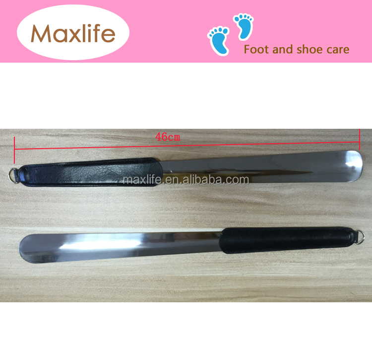 2015 hot sale 46 cm long metal shoe horns with leather cover handle