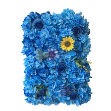 2017 new design customized artificial blue hydrangea flower wall backdrop for decor