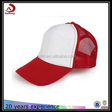 red and white outdoor and breathable mesh hats low profile trucker cap