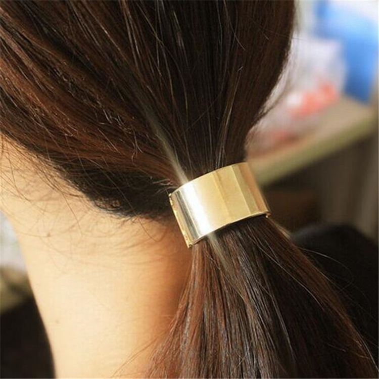 Punk Rock Metal Circle Cuff Ring Hair Rope Girl Ponytail hair Accessories Rubber Band