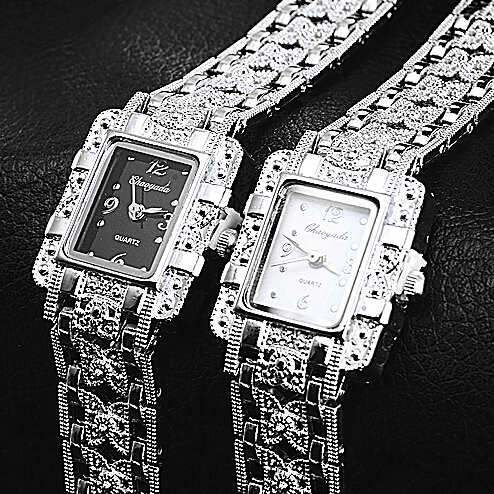 New Vintage Watch Women Ladies Royal Fashion Square Dial Silver Stainless Steel Casual Bracelet Rhinestone Watches Mujer Relojes