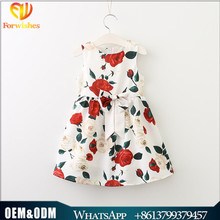 Children summer clothes fancy rose printed casual dress jumper skirt baby cotton frock design girl party wear western dress