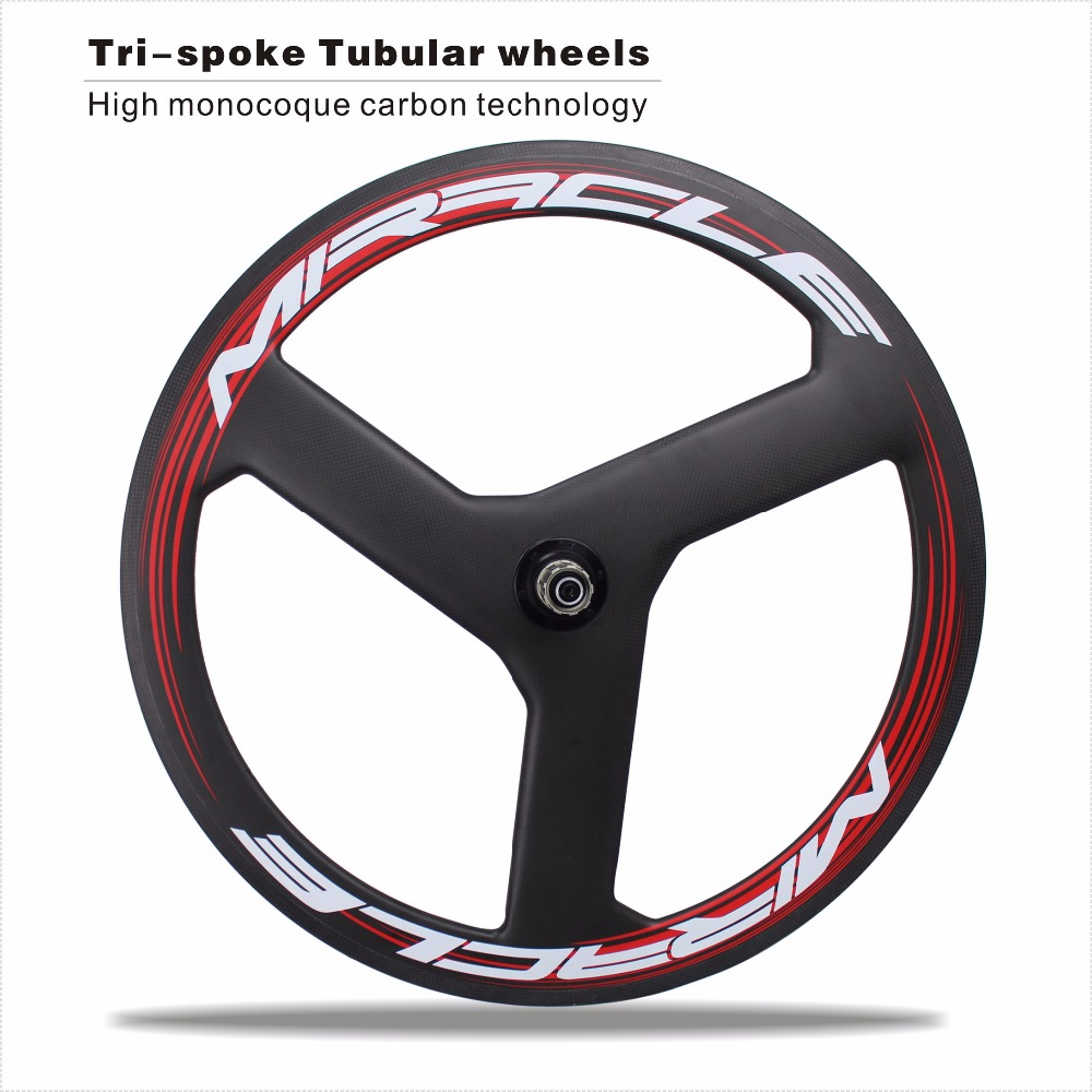 2016 NEW Carbon Tri-Spoke Wheels 700C Tri-Spoke 3 Spoke Bike Carbon Tubular Wheels