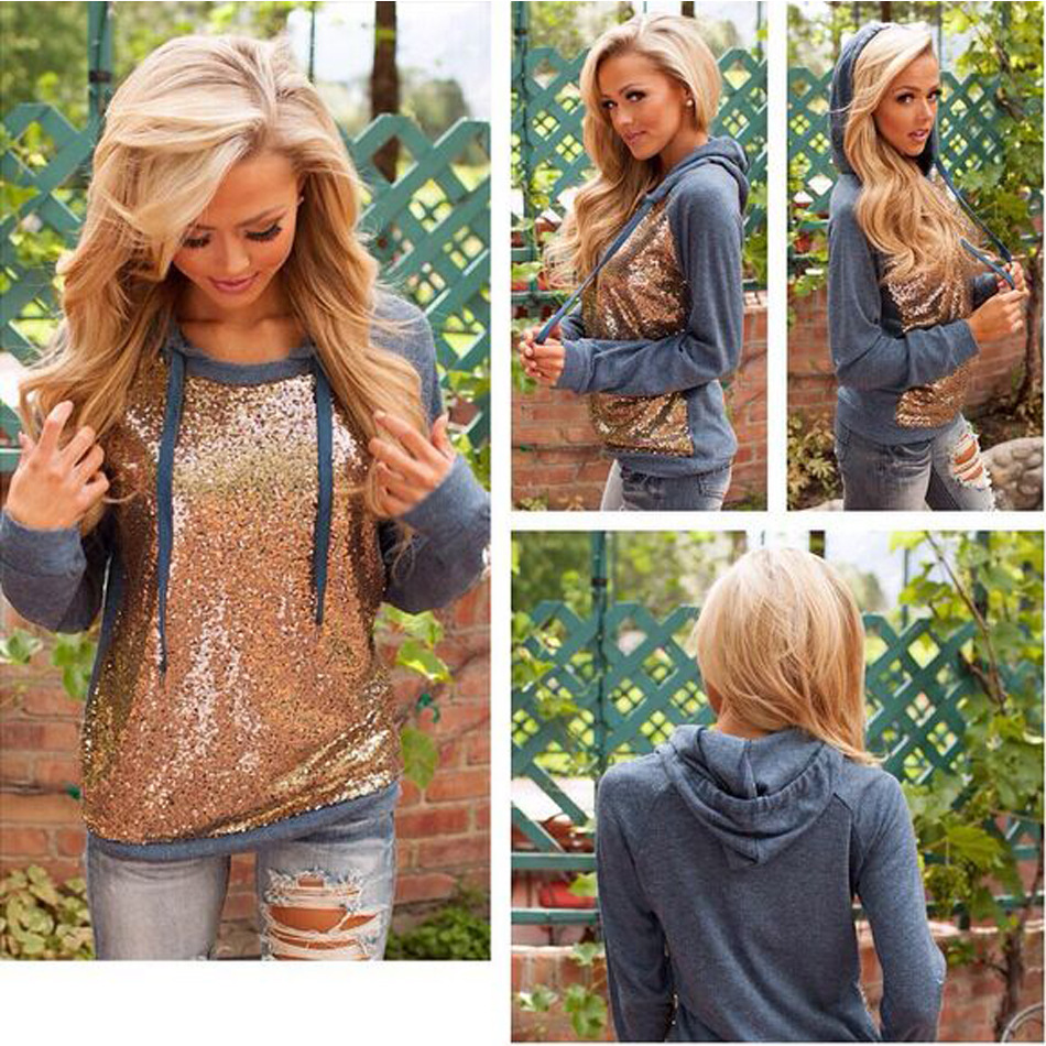 B30731A European wholesale women bright golden sequins splicing pullover hoodies