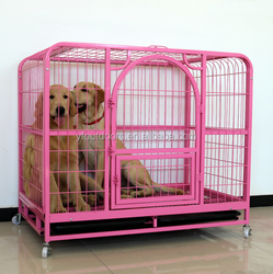 Double doors wire mesh dog cage for wholesale with removable tray