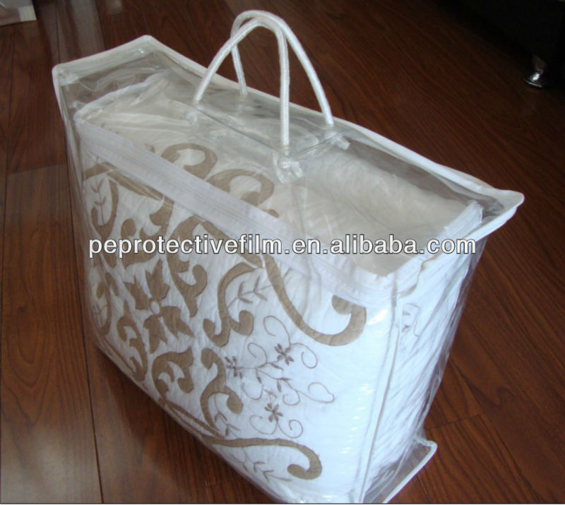 Comfortable PVC plastic zipper blanket bag with rope handles