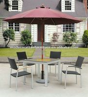 Quite cheap rattan stackable chairs + teak wood coffee table sets + outdoor sun umbrella