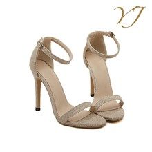 2017 new style cheap beautiful lady high heel bridal fancy sandal