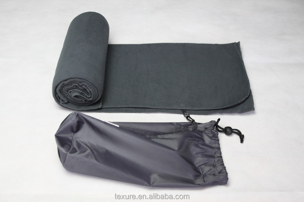 Plain dyed polar fleece airline travel home blanket with pouch
