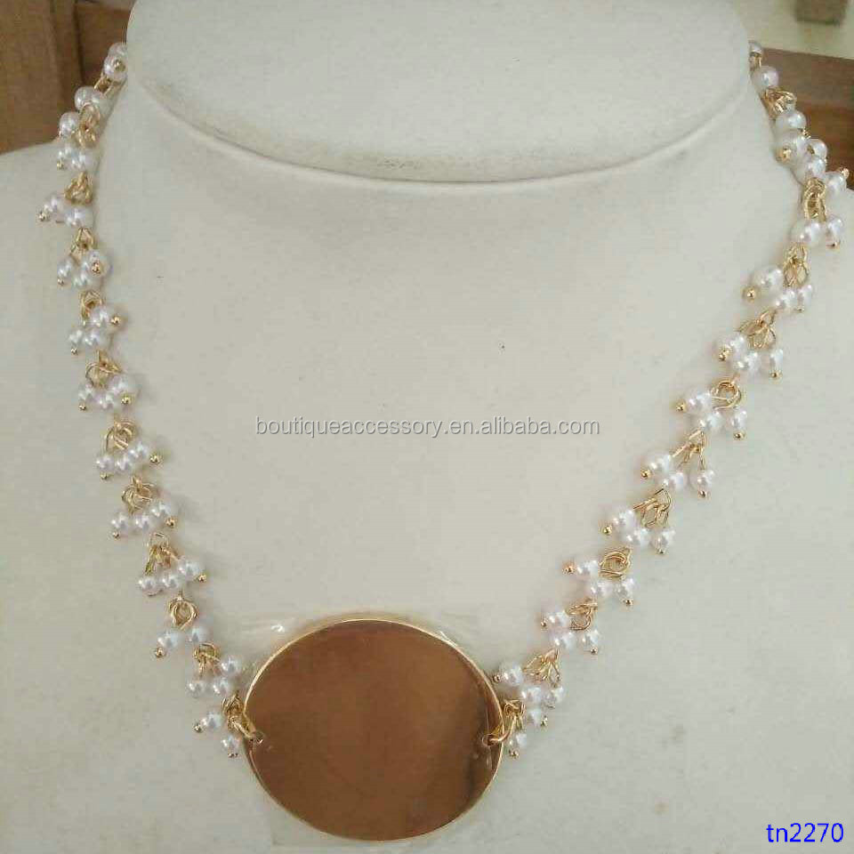 Handmade Pearl Chain Necklace Gold Plated Hammered Copper Disc Pendant Necklace