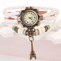 Hot Sale 2015 New Fashion Leather Watch Tower Pendant Watches Women Vintage Hand Knit Ladies Bracelet Watch