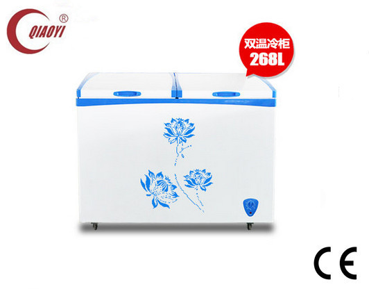 chest freezer with two chambers one refrigerator one freezer 268L