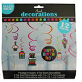 12pcs Value Pack Swirl Happy Birthday Party Hanging Decorations Supplies