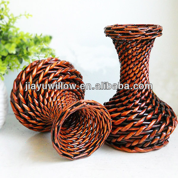 Easter empty decoration willow wicker basket for flowers vase basket with handmade
