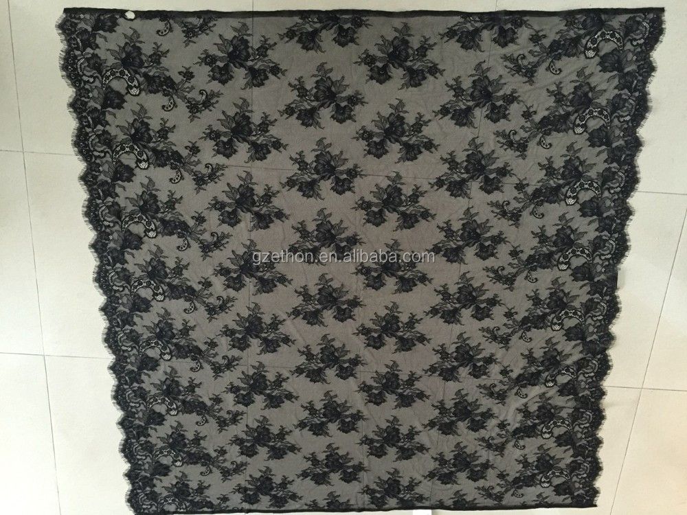 New sexy lace design Cheapest black nylon French net lace fabric with scallop edge for pajamas