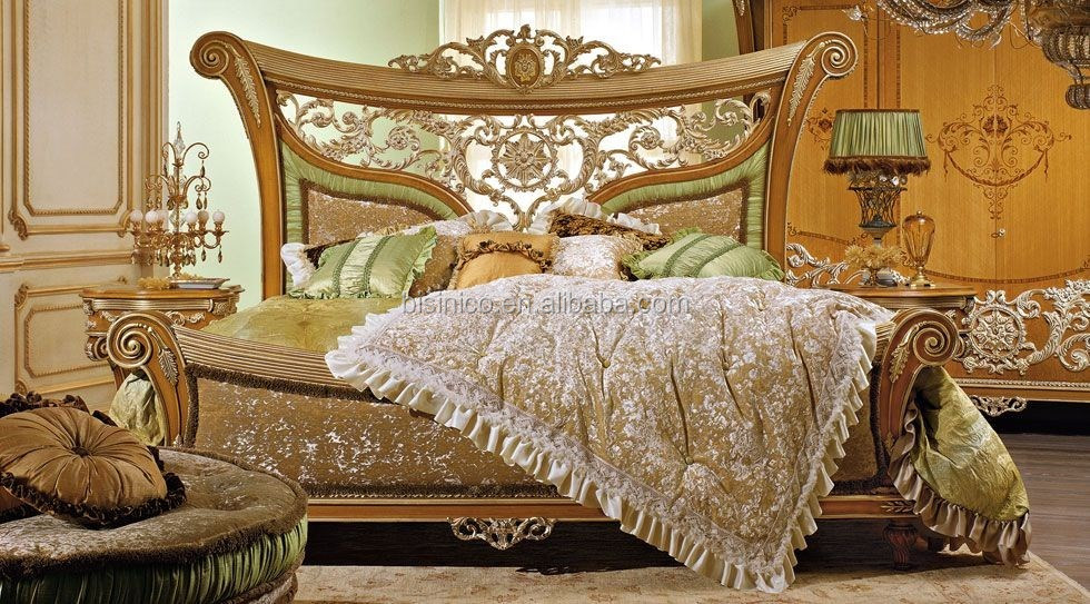 European Italian Style Hand Carved Wooden Canopy Bed With Upholstery(MOQ=1 SET)