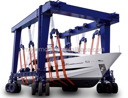 The Hydraulic Crane Is Used To Lift The 1400 : Wd hydraulic boat lifting gantry crane rubber tyre