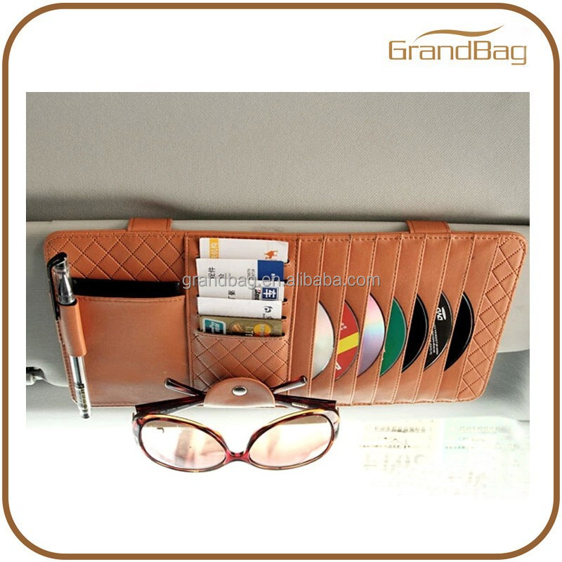 multi function leather car sun visor cd holder car disk organizer with credit card holder. Black Bedroom Furniture Sets. Home Design Ideas