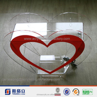 Factory heart shaped charity pop transparent money box