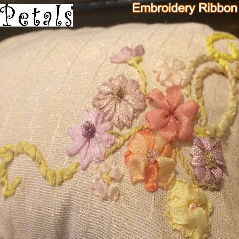 Petals nylon sheer silk thread ribbon embroidery