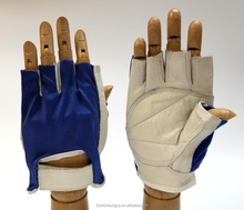 Popular style genuine leather short finger cycling gloves