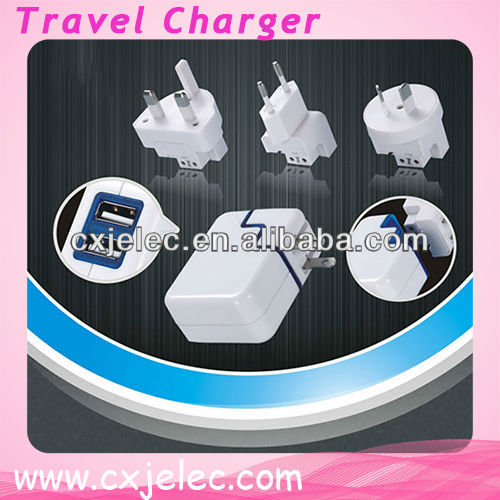 universal travel adapter with usb charger/mobile travel charger with foldable plug