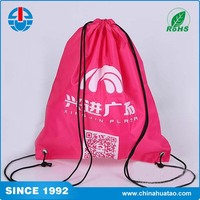 Fugang Promotional Waterproof Multi-Function Gym Sack Pink Nylon Drawstring Bag