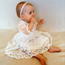 Elegant White Lace With Bonnet Baby Dress Baptism Gowns christening gowns