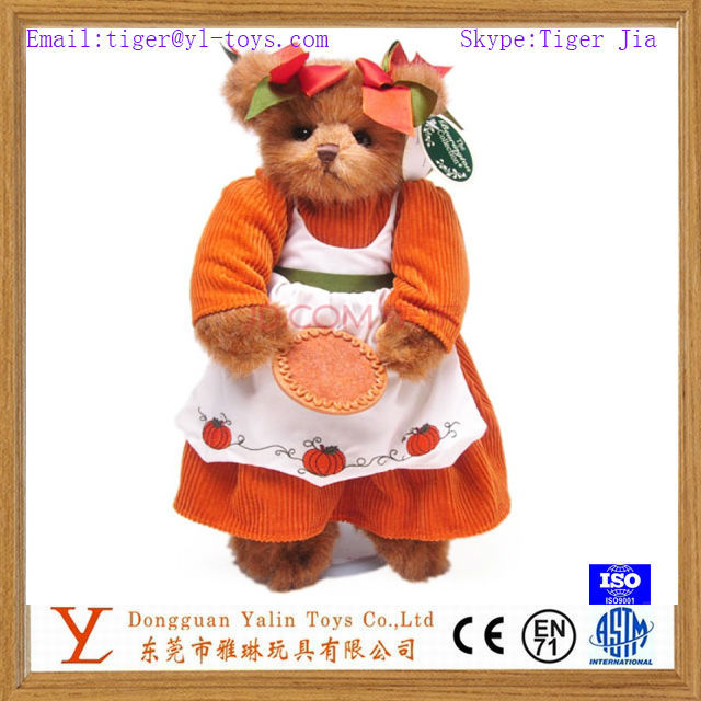 beautiful plush teddy bear doll mini teddy bear with clothing