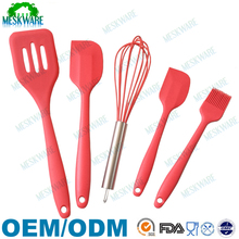 Premium high quality 5-piece silicone utensil red, silicone kitchen utensil sets