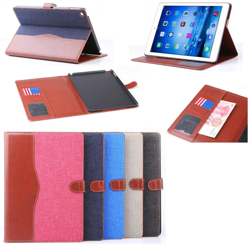 Jeans design wallet leather case for iPad air 2, case for ipad air with stand