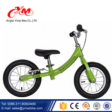 Alibaba Yimei brand 12 inch baby push bike balance/no pedal less bike for balance/geen color aluminumbalance bike with brakes