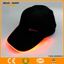 Customize high quality cotto black flashing peaked cap with optical fiber